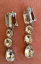 Authentic Oscar De La Renta Vintage Style Crystal Earrings Clip