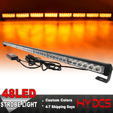 "47"" 48 Led Emergency Warning Flash Traffic Advisor Safety Strobe Amber Light Bar"