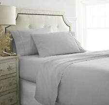 US Bedding Collection- Ultra-Plush 1000 TC 100% Cotton Light Grey Solid