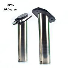 2pcs Stainless Fishing Rod Holders for Boat 30 Deg with Rubber Cap, Liner,Gasket