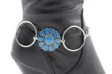 Women Silver Metal Chain Boot Bracelet Western Shoe Charms Anklet Blue Flower