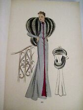 Gorgeous Art Deco Era French Fashion Book W/ 35 Pages of Hand Painted Fashions *