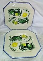 Williams Sonoma Sardinia Appetizer Snack Set Plates Set of 2 - Made in Italy