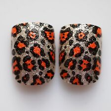 24pcs Glitter Nails, High Quality False Nail Tips in BULK ONLY - Leopard Pattern