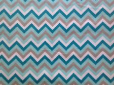 ~FLANNEL~Chevron~Quilting~Fabric~Flannelette~White~Grey~Mint~Teal~Childrens~FQ