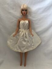 Vintage Barbie Doll Dress TAGGED Fashion Outfit 958 PARTY DATE WHITE SATIN DRESS