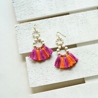 Panacea Magenta Mix Stone & Fringe Tassel Drop Earrings, New $38