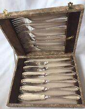 Victorian poisson Lot de 6 Plaqué Argent fourchettes et 6 couteaux Ryals