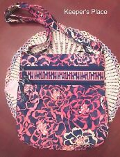 Vera Bradley KATALINA PINK Breast Cancer Triple Zip Hipster Crossbody Bag