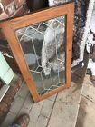 SG3611 Antique leaded glass cabinet door oak 18 x 36
