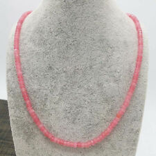 Lovely Fashion  2x4mm Pink Jade Faceted Gems Beads Necklace 18''