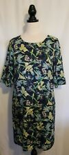 SPORTSCRAFT SIGNATURE ~ Navy Green Yellow White Dutch Iris Fitted Dress 10