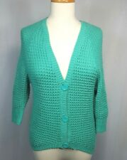 Takeout Knitted woman's Teal Cardigan Sweater 3/4 Sleeve V Neck Button Front XS