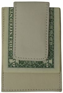 Genuine Leather Mens Slim Magnetic Money Clip Credit Card Holder Compact Colors