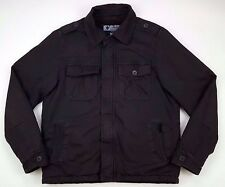 COLUMBIA Medium COAT Brown MENS Lined FULL Zip BUTTON Front 209 EM 3126 Cotton**