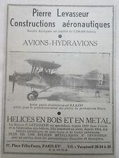 1934-35 PUB PIERRE LEVASSEUR HELICE BOIS METAL AVION MARIN PL9 BEARN ORIGINAL AD