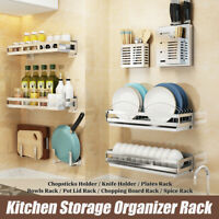 Wall Hanging Storage Shelf Rack Holder Organizer Kitchen Dishes Spice Knife