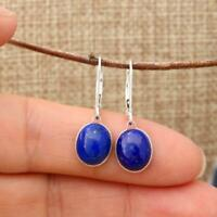 925 Sterling Silver Lapis Lazuli Lever Back Drop Earrings 8 x 10mm Gift