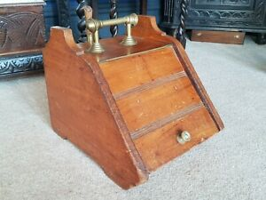 Antique-Victorian-Carved Pitch Pine/Brass-Coal Box/Purdonium With Shovel-c1890's