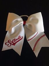 Softball Cheer Hair Bow White with Red Glitter Heat Transfer