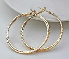 18K Gold Filled Earrings 2-Layer Carving Rectangle Round Clip-On Lady Party DS