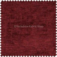 Soft Shiny Shimmering Chenille Upholstery Curtains Cushion Fabric Burgundy Red
