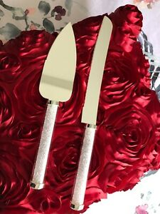 SILVER DIAMOND STYLE HANDLE WEDDING CAKE SERVER SET engagement baby shower 21st