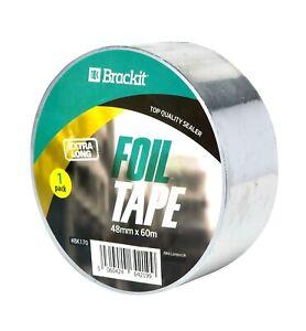 Brackit Aluminium Foil Tape – 48mm x 60m – Extra Long & Heat–Resistant
