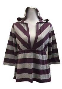 *NWT* JayJays Size 14-16 Ladies Purple/Grey 3/4 Sleeve Shirt Top w/Hood (Hoody)