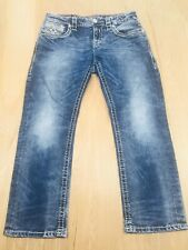 Rock Revival Mens 32x29 32S Freemont Rlxt Straight 17 Distressed Jeans (J9) FLAW