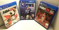 Video Game Lot of 3 PS4 (Sony PlayStation 4)  NBA 2K16, THE SHOW 16, NBA 2K18