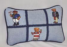 Pillow made w Ralph Lauren Polo Teddy Bear Blue Pin Stripe Fabric 12x8 cording