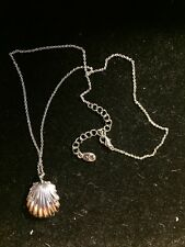 "Signed ""A"" HangTag By Accessorize SilverTone Clam Shell Locket Pendant Necklace"