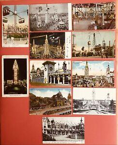 CONEY ISLAND, NY~Luna Park, Dreamland, Steeplechase~LOT of 11 postcards~1906-'20