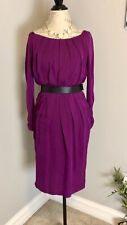 Anne Klein Purple Blouson Dress Zipper Cuff w Belt Small