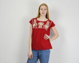 Women's M Handmade Folk Traditional Ethnic Blouse Top Embroidered Red VTG RA27e