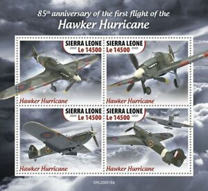 WWII First Flight RAF HAWKER HURRICANE Aircraft Stamp Sheet (2020 Sierra Leone)