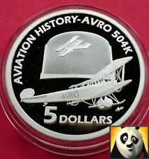 2008 Australia 5 $DOLLARI AVRO 504K SILVER PROOF COIN STORIA DELL' AVIAZIONE