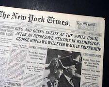 ROYAL VISIT King George VI & Queen Elizabeth Wash. DC WHITE HOUSE 1939 Newspaper