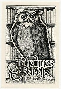 Arno Kalberg,  Estonia, Ex libris Bookplate, Owl and Books