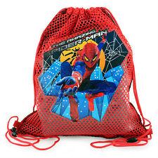 LOT 12 MARVEL SPIDERMAN Kids Boys Sling Bag Tote Sport Net Backpack PARTY FAVOR