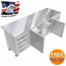 Stainless Steel Island Preparation Table 30X96 8 Drawers 2 Middle Doors Shelves