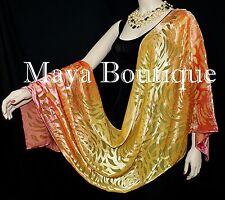 Maya Matazaro Hand Dyed Orange Gold Camellia Shawl Wrap Scarf Burnout Velvet