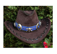 Blue leather hat band, cowboy hat band, Skull hat band, Western concho hat band