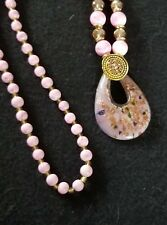 Pink Jade Beads Necklace & Old Beijing Glaze Pendant Sweater Chain M3023`f