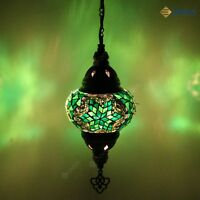 Turkish Moroccan Style Mosaic Multicoloured Hanging Light Lamp Medium Globe