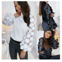 Women's Organza Stitching Patchwork Puff Sleeve Tops High Neck Appliques Blouse