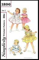 Simplicity #1896 Sewing Pattern BABY GIRL Dress Frock & Pinafore & BONNET ~PICK~