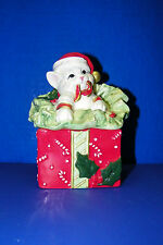 Fitz & Floyd Ff Kitty Kringle Kitten in Gift Box w Lid Christmas Present Cat