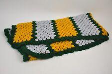 "Handmade Crochet Blanket Green/Yellow/Grey Green Bay Packers Fan Throw 46""x57"""